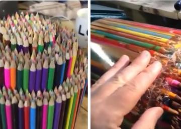 Cet artiste a réalisé son oeuvre, entièrement avec des crayons de bois! Et elle est superbe!