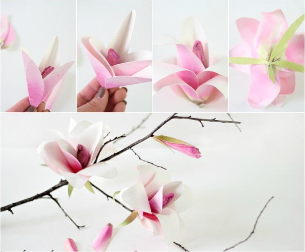 Fleur En Papier Crepon Facile A Faire se rapportant à comment fabriquer de magnifiques fleurs de magnolia! - décorations