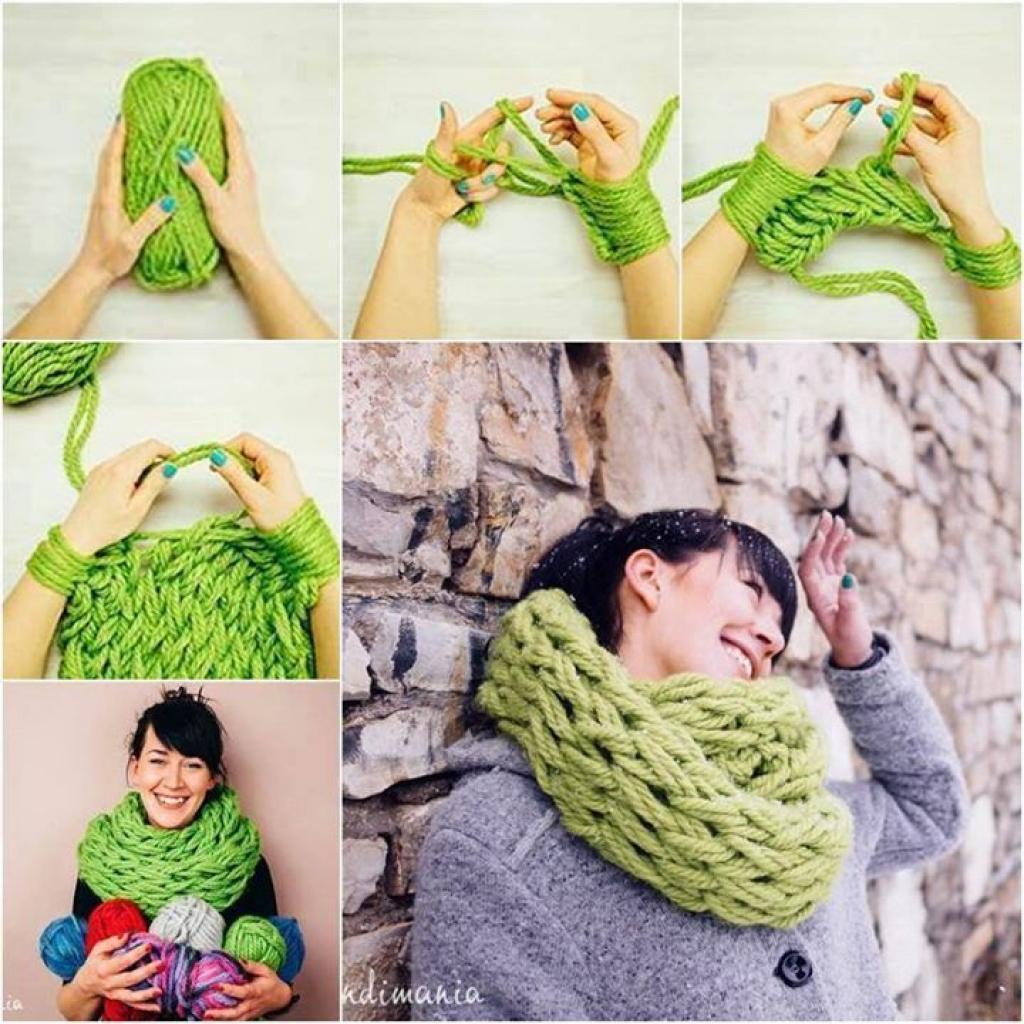 tricoter un snood avec les mains