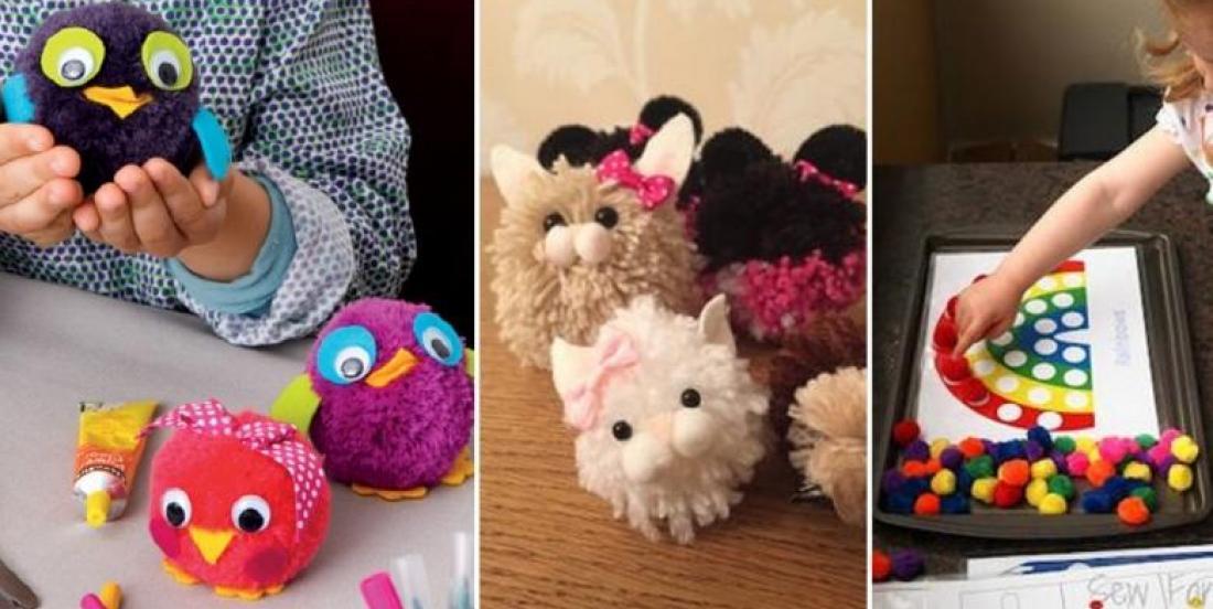 20 adorables bricolages à faire avec les enfants... Avec des pompons!