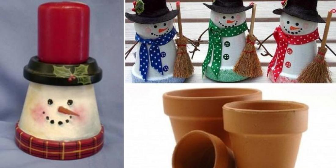 Le bonhommes de neige pot en terre cuite!  6 modèles!