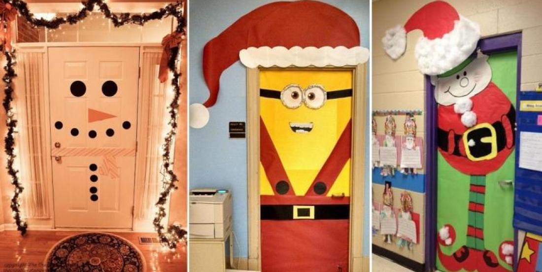 20 Magnifiques idées pour décorer une porte pour Noël! Une idée à bricoler avec les enfants!