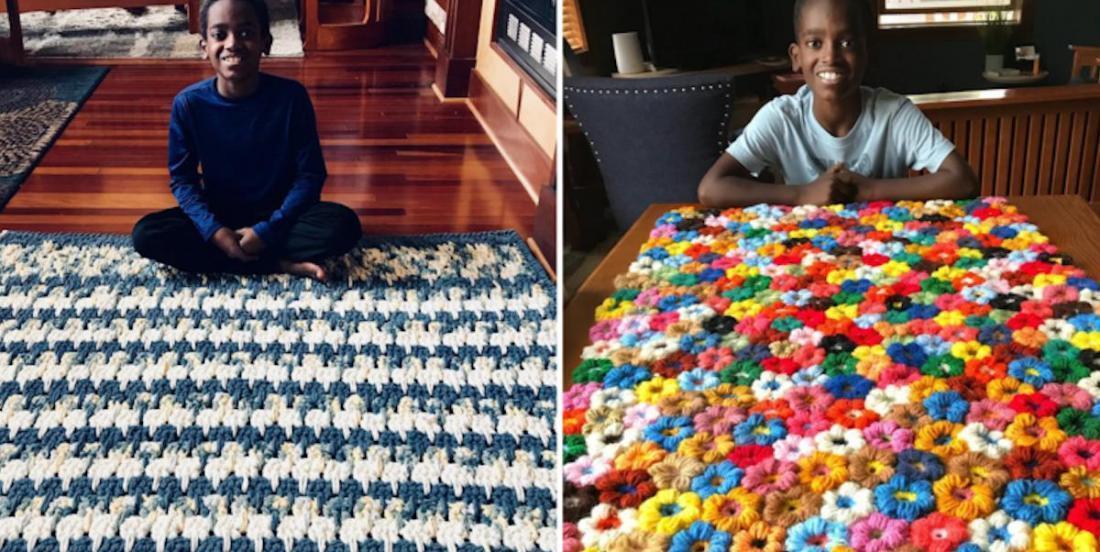À 11 ans, il maitrise l'art du tricot comme pas un et fait preuve d'une grande générosité!