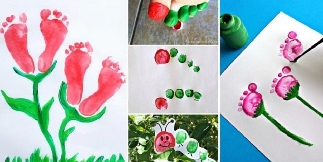 20 Peintures à faire avec les pieds et les mains des enfants, pour souligner l'arrivé du printemps!