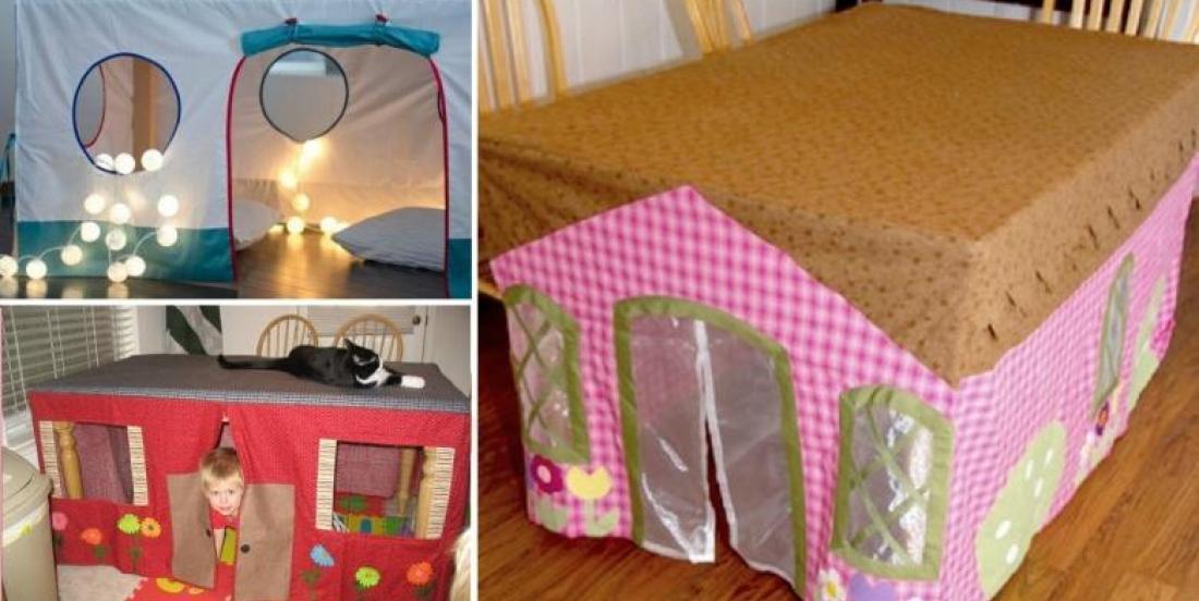 Récupérez vos vieilles nappes en tissus, pour fabriquer une cabane pour enfants!