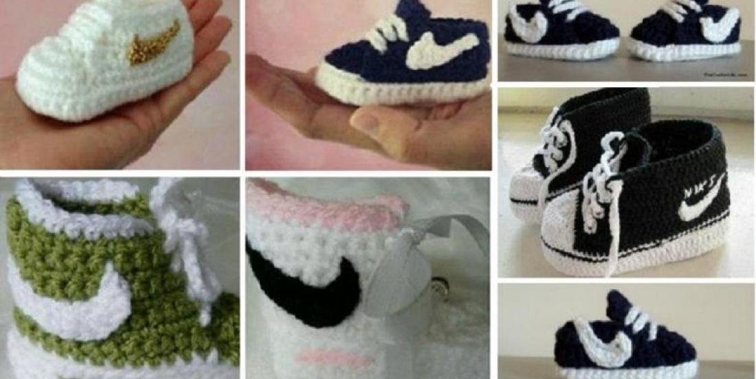 Un patron gratuit pour crocheter des pantoufles style Nike pour bébé!