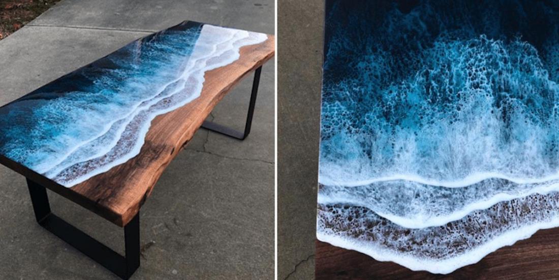 Des artistes créent de superbes tables qui évoquent la mer ou les rivières