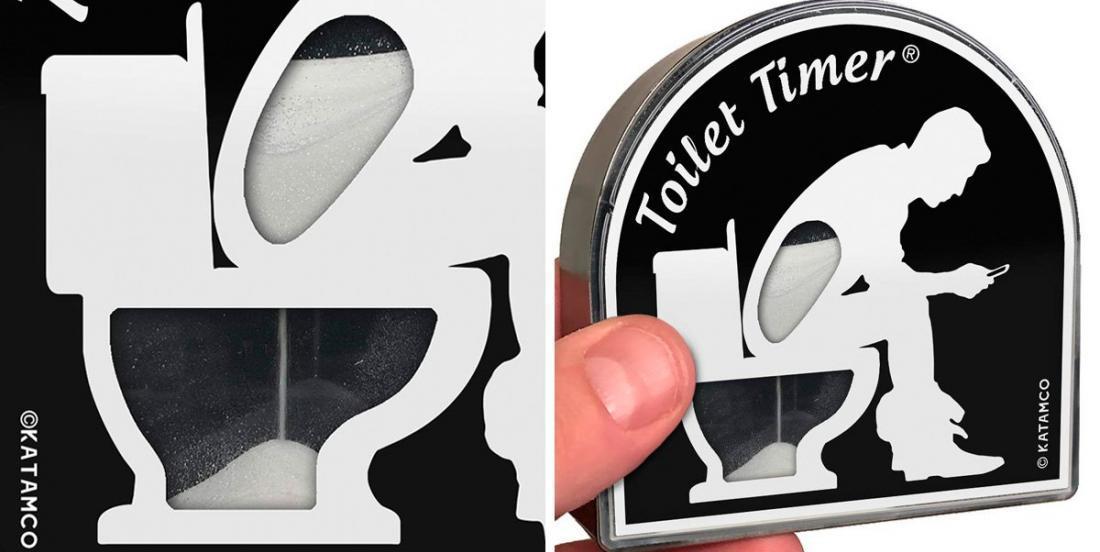 Le gadget insolite du jour: un sablier pour les personnes qui passent trop de temps aux toilettes!
