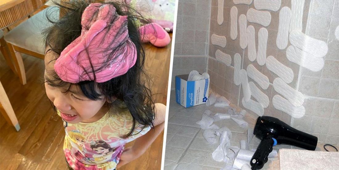 15 parents dépassés qui ont partagé des photos de leurs enfants en confinement