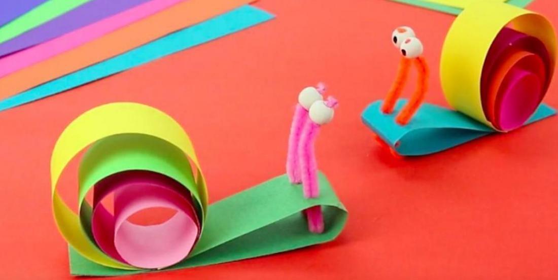 On vous propose un bricolage coloré: de beaux escargots en papier!
