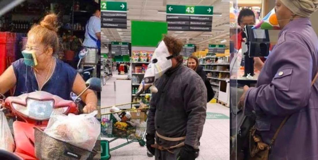 22 personnes qui n'avaient pas de masques classiques, mais qui ont voulu se protéger du coronavirus en faisant leurs courses!