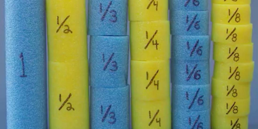 Mathématiques: apprendre les fraction à l'aide de nouilles de piscine