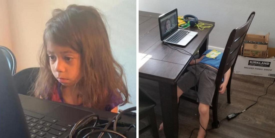 11 photos qui montrent à quoi peut ressembler la réalité d'un jeune écolier en classe virtuelle