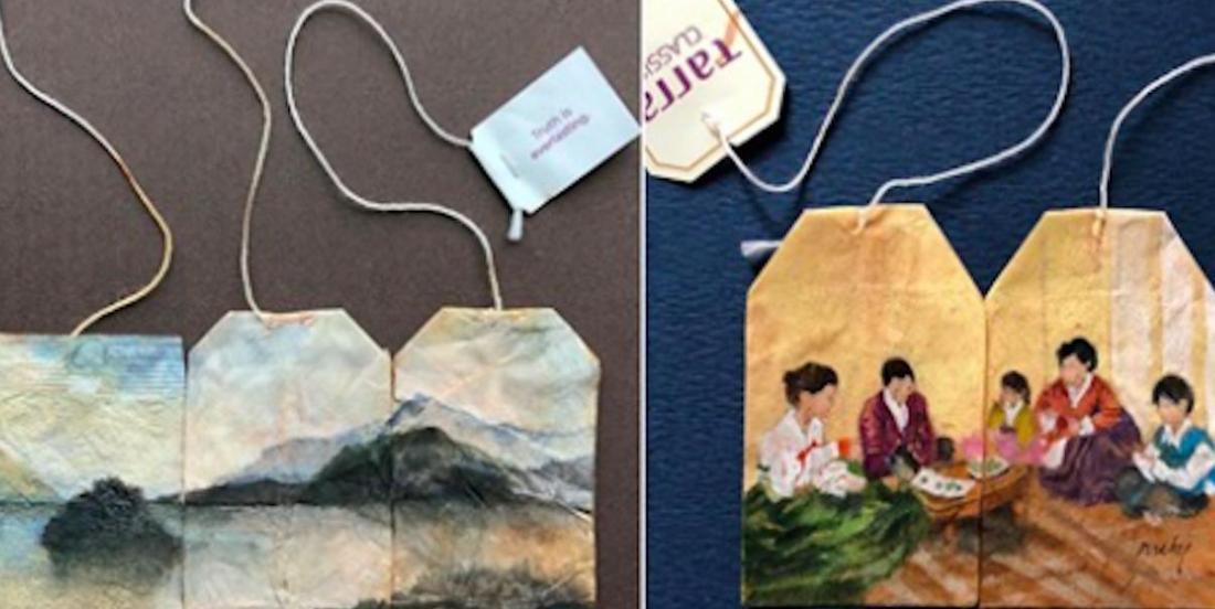 Elle peint des scènes magnifiques sur des sachets de thé usagés