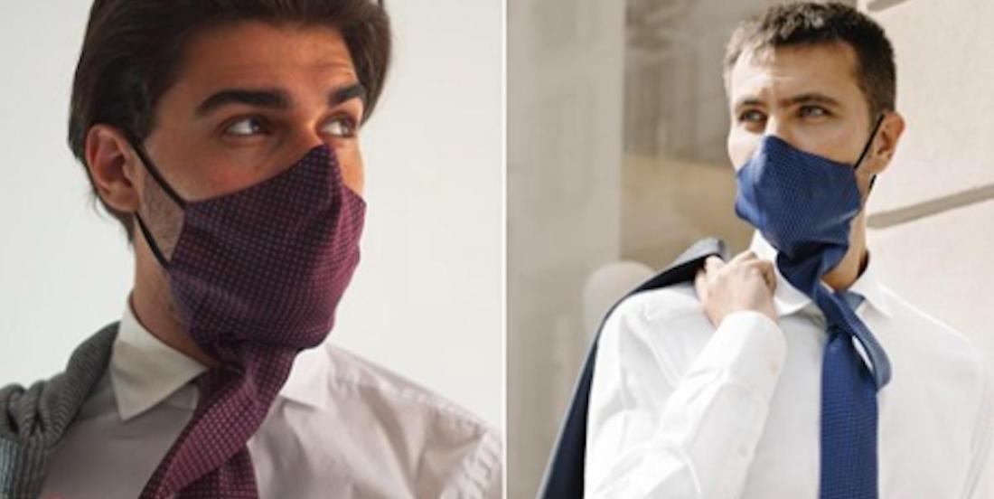 Masque assorti au pull et cravate qui se transforme en masque; quand la mode surf sur la pandémie de COVID-19.