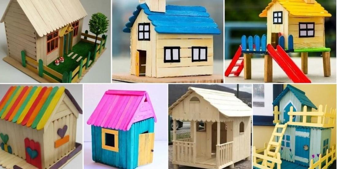 10 modèles de maisons en bâtons de popsicles pour inspirer vos bricolages