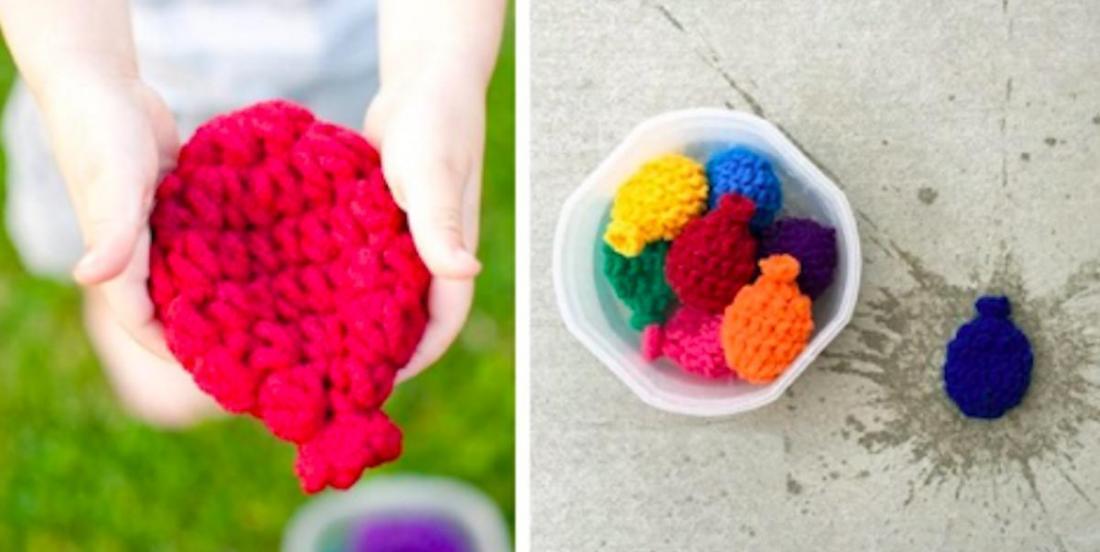 Une alternative aux « ballounes » d'eau polluantes: les ballons en crochet!