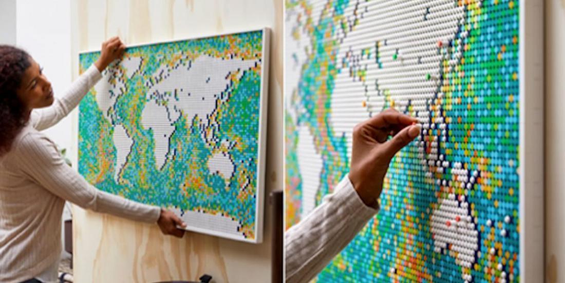LEGO a créé une carte du monde à construire pour y indiquer nos voyages