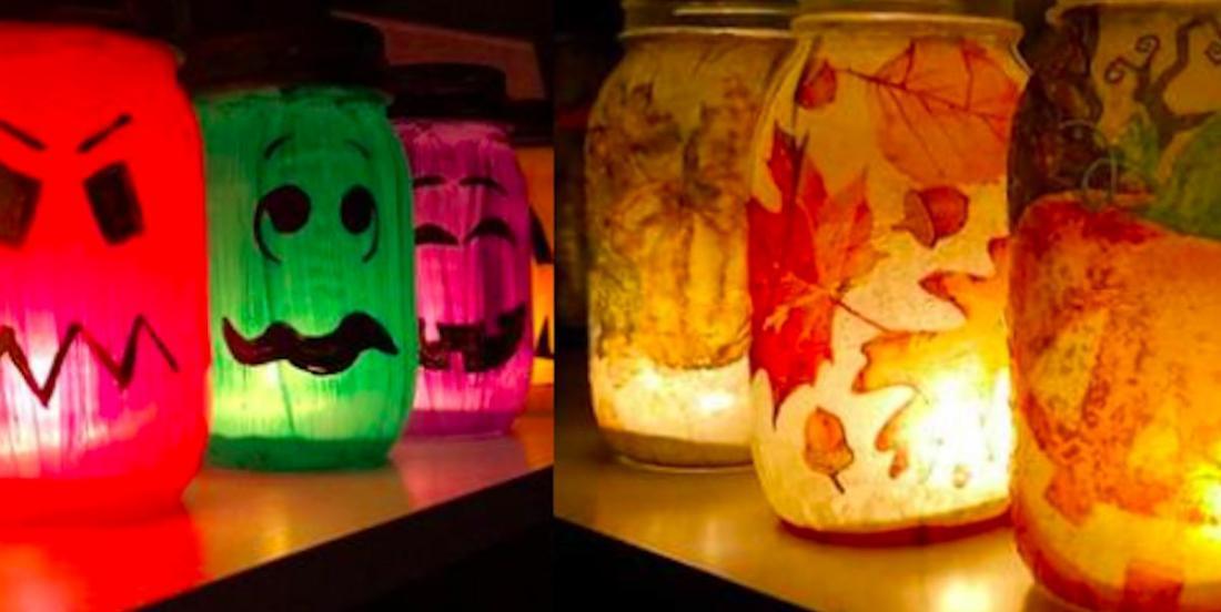 Luminaires automnaux avec des pots Mason: 2 propositions