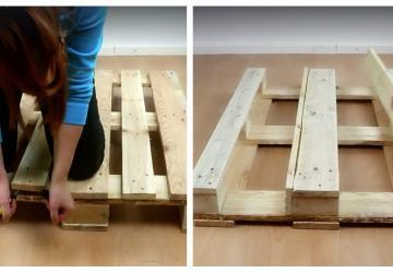 Elle retire 2 planches d'une palette et en les clouant sur une autre partie, elle construit une jardinière époustouflante!