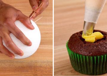 Il pique des cure-dents sur du styromousse et décore des cupcakes en jaune! Son cadeau de Fête des Mères est parfait!