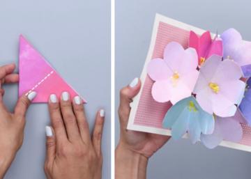 En pliant simplement des bouts de papier en triangles, vous pourrez réaliser une magnifique carte en 3D pour la Fête des Mères!