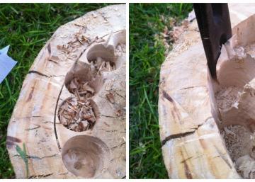 Elle fait des trous dans un tronc d'arbre, puis elle l'installe dans le jardin. Le billot attire tous les regards depuis!