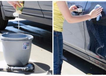 Je n'aurais jamais pensé à prendre ce que cette femme utilise pour laver et cirer sa voiture en même temps!