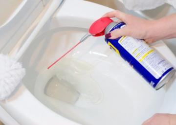 Elle vaporise du WD-40 dans la cuvette des toilettes et 1 minute plus tard, c'est mission accomplie!