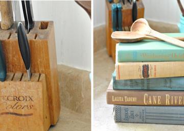 Son bloc à couteaux faisait pitié tellement il était usé... Elle réfléchiT un peu et empile quelques vieux livres! Son idée est géniale!