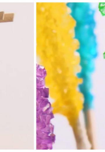 Il fixe un bâtonnet dans un verre avec une épingle à linge. Après 2 semaines, il obtient des bonbons comme j'en avais jamais vu!