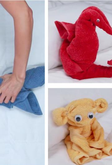 Avec des serviettes, elle réalise des animaux magnifiques! Vous pourrez le faire! C'est facile!