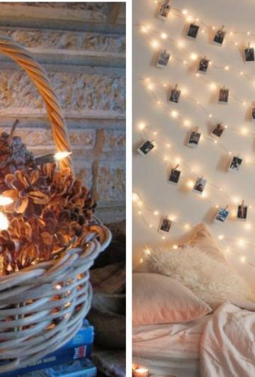 C'est dommage d'utiliser les cordons de lumières blanches juste à Noël! Voici 20 belles idées pour les utiliser toute l'année!
