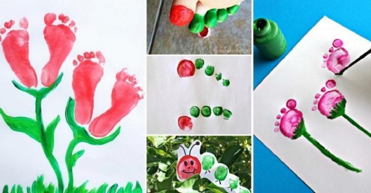 20 peintures faire avec les pieds et les mains des enfants pour souligner l