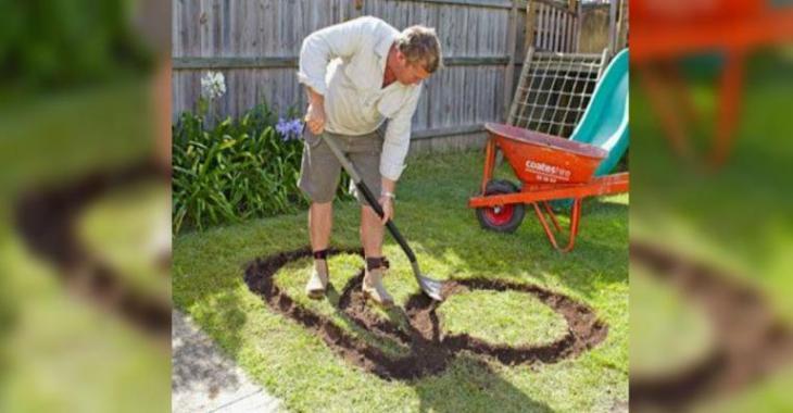 Ce papa a creusé une forme amusante dans le jardin! Ce qu'il en a fait? C'est brillant!