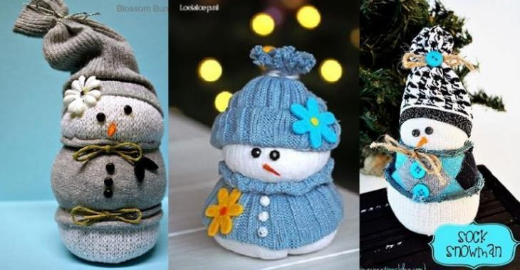 Récupérez une chaussette blanche pour bricoler un bonhomme de neige!