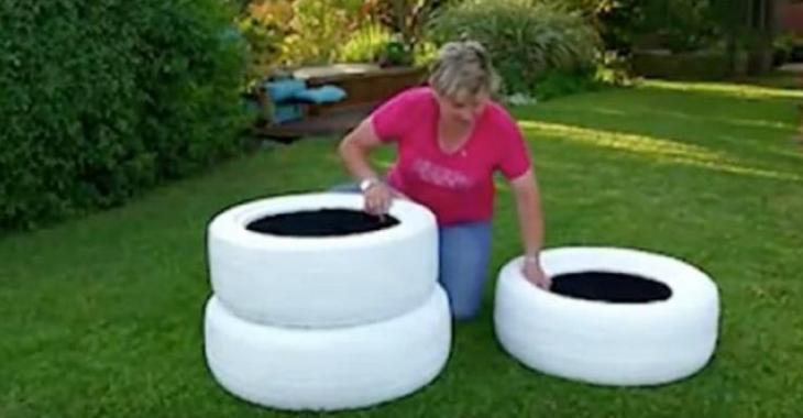 Cette dame peint en blanc 3 pneus! Une fois qu\'elle les empile! Vous ...