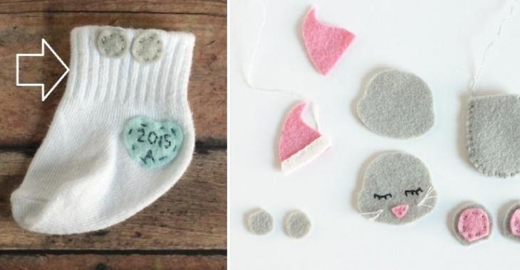 Un adorable souvenir à bricoler avec la chaussette de votre bébé!!