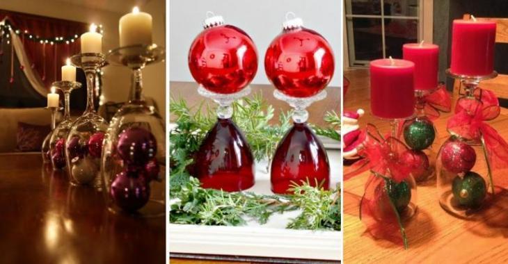 17 beaux modèles pour vous inspirer des centres de table de Noël, faits à partir de coupes de vin!