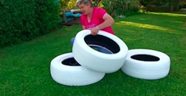 Cette dame récupère de vieux pneus pour faire une décoration de ...