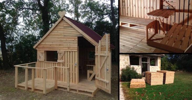 À l'aide de bois de palette, construisez une maisonnette pour vos enfants