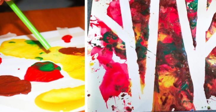 Atelier de peinture soufflée: Les arbres d'automne