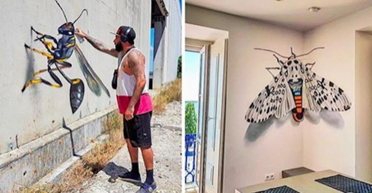 Un artiste de rue réalise des graffitis en 3D qui mélangent l'art et la réalité