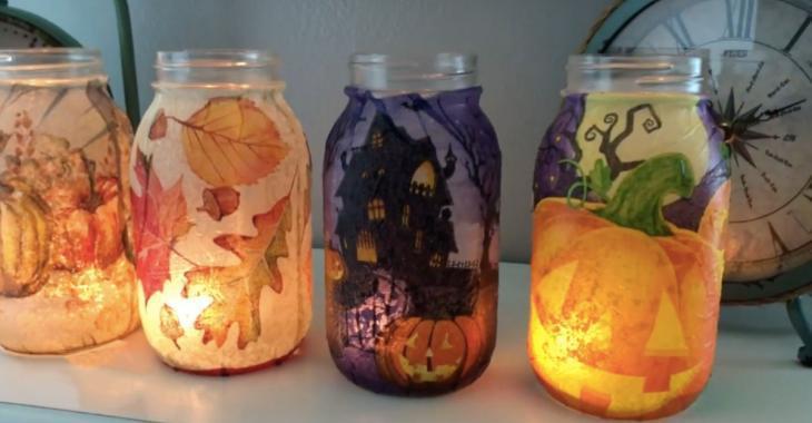 Luminaires d'automne en serviettes de papier