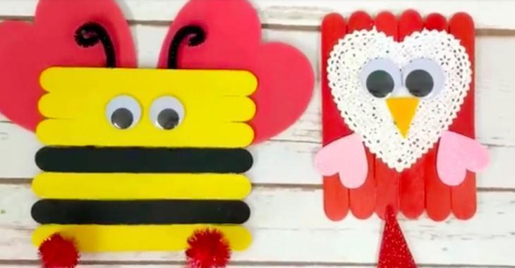 6 bricolages de Saint-Valentin à faire avec des bâtonnets de bois