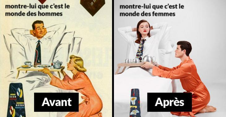 Il inverse les rôles des hommes et des femmes dans de vieilles publicités sexistes