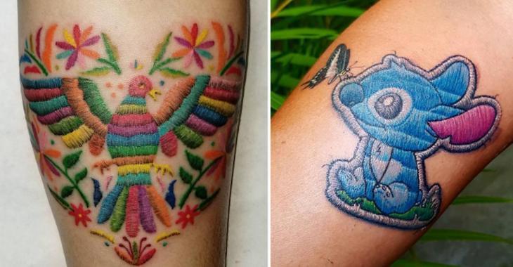 20 fabuleux tatouages à effets broderies qui donnent l'illusion d'être cousus sur la peau!