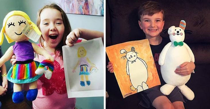 Idée cadeau: une peluche réalisée à partir d'un dessin de votre enfant!