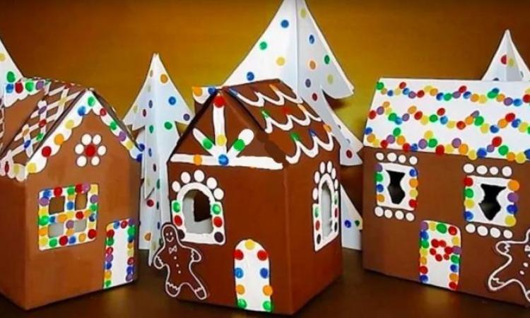 Bricoler des maisons en pain d'épice avec les enfants, à partir de cartons de lait! Plus un EXTRA!