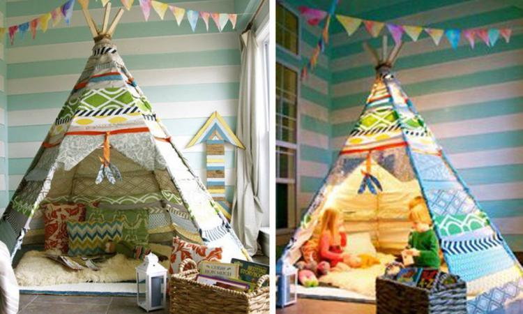 Réalisez un espace enchanteur pour les enfants! Fabriquez un Tipi en récupérant des tissus de la maison!